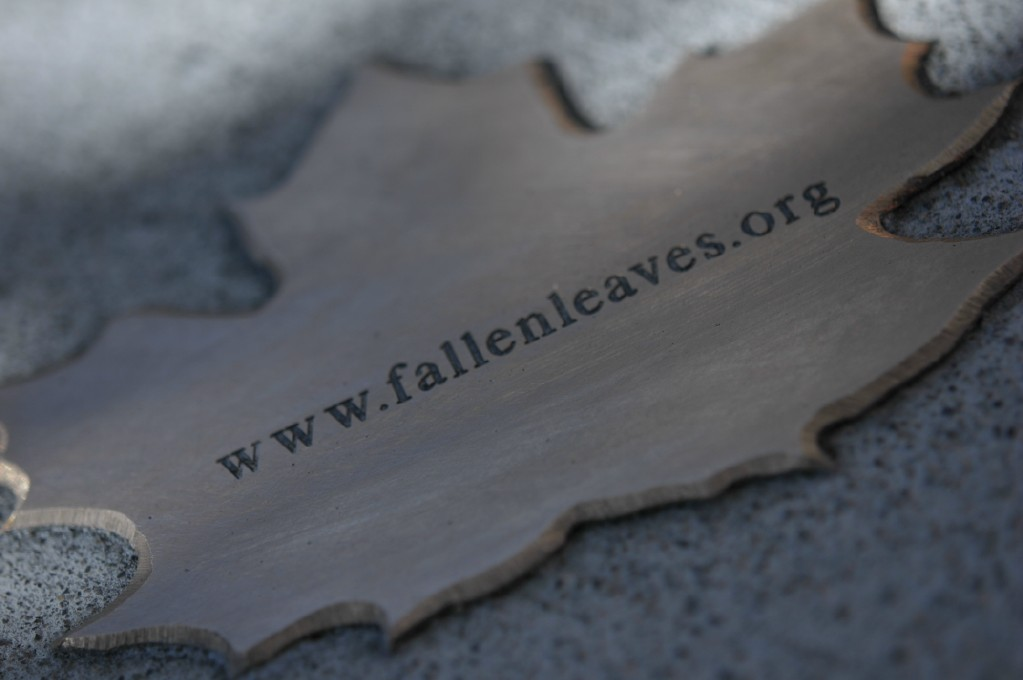 bronze leaf reading 'fallenleaves.org'