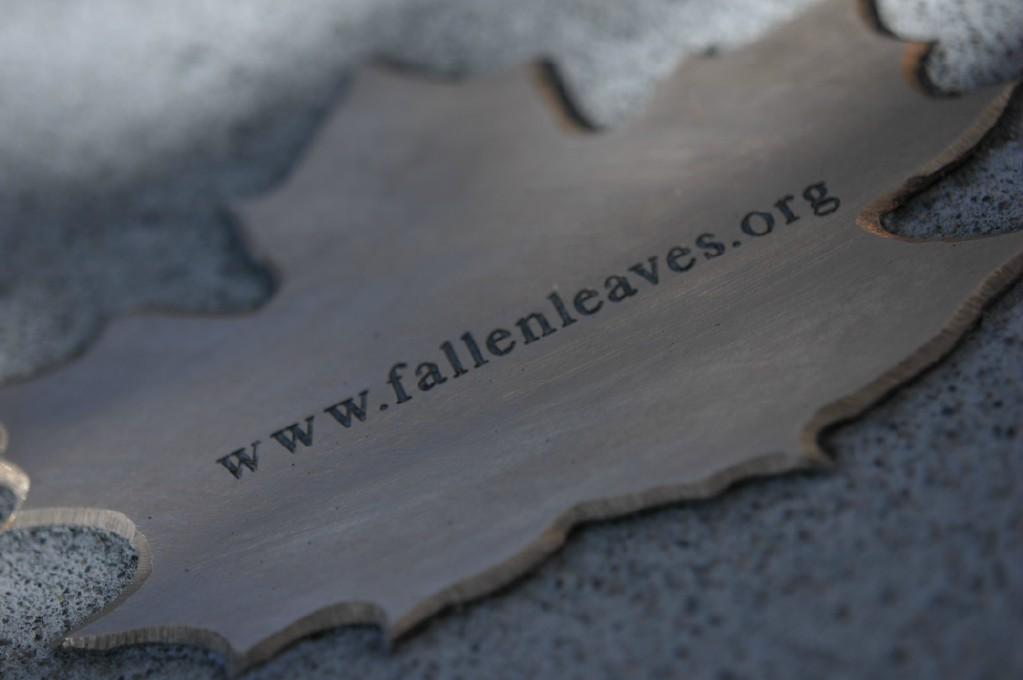 bronze leaf reading 'fallenleaves.org'