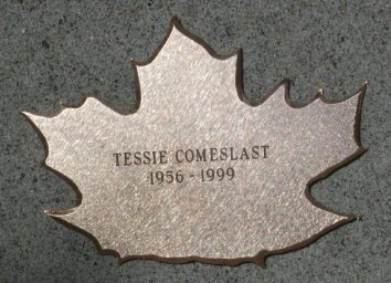 "Bronze Leaf of Remembrance ""Tessie Comeslast 1956-1999"""