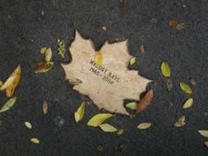 Leaf of Remembrance for Melody Rayl, with fallen leaves