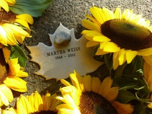 Leaf of Remembrance for Martha Weiss, with sunflowers