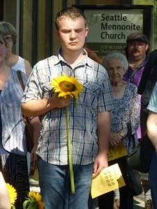 Adam Weiss, with sunflower