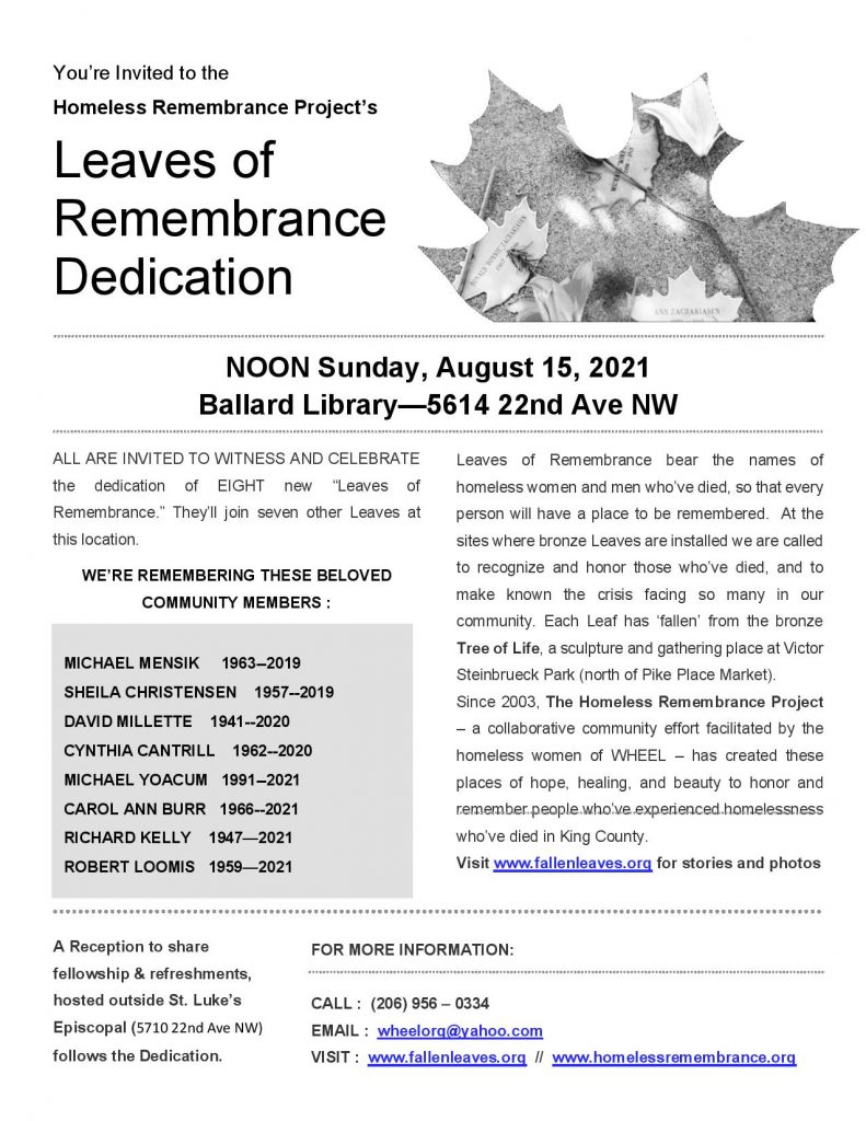 Leaf Dedication Flyer